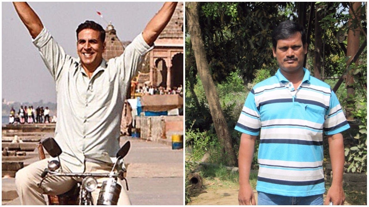 Akshay Kumar as the reel Padman and Arunachalam Muruganathanam as the real Padman